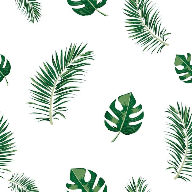 Modèle sans couture de feuille tropicale. Vecteur Premium