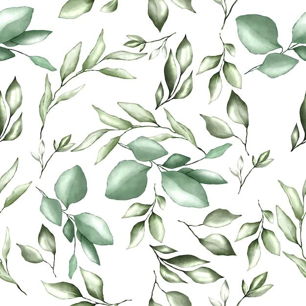 Modèle sans couture avec feuilles d'aquarelle Vecteur Premium