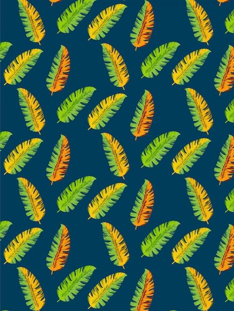 Modèle sans couture de feuilles de bananier Vecteur Premium