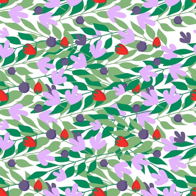 Modèle sans couture de feuilles à base de plantes Vecteur Premium