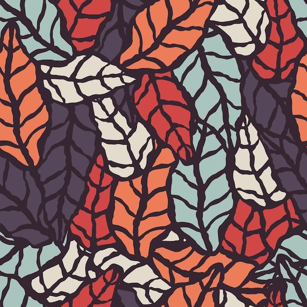Modèle sans couture avec des feuilles naturelles dessinés à la main Vecteur Premium