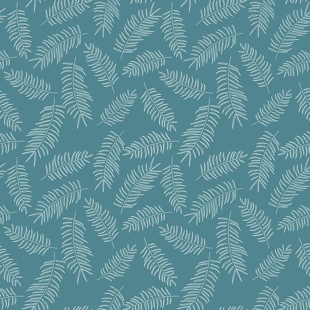 Modèle sans couture avec des feuilles tropicales blanches sur fond bleu Vecteur Premium