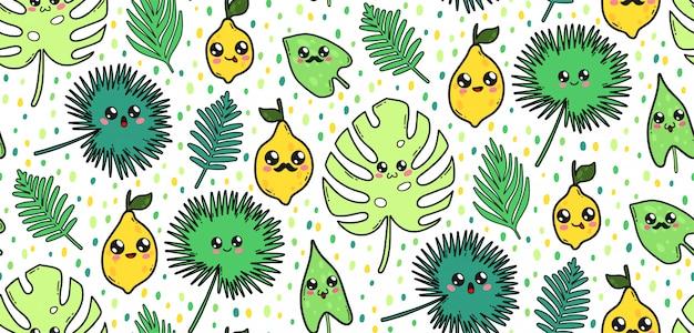 Modèle sans couture avec des feuilles tropicales mignons et citrons dans un style kawaii au japon. personnages de dessins animés heureux avec illustration de grimaces. Vecteur Premium