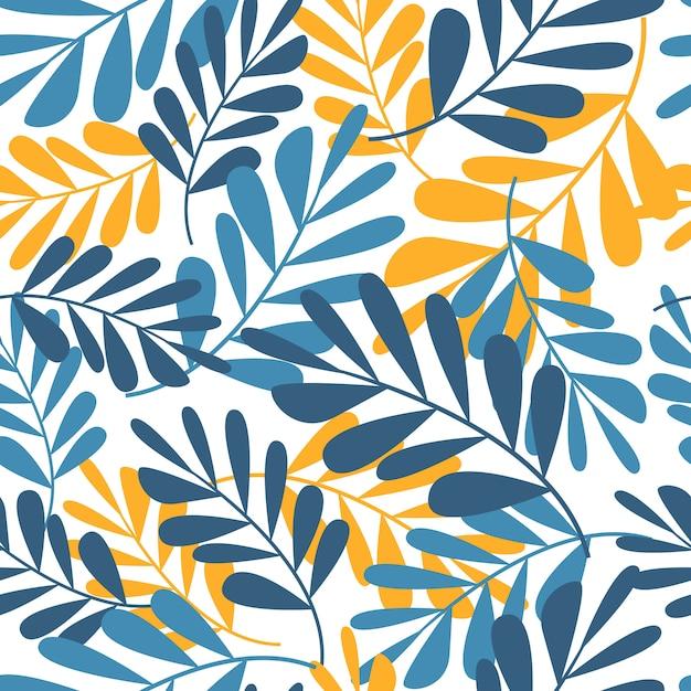 Modèle sans couture de feuilles tropicales, mode, intérieur, emballage consept. illustration vectorielle contemporaine Vecteur Premium