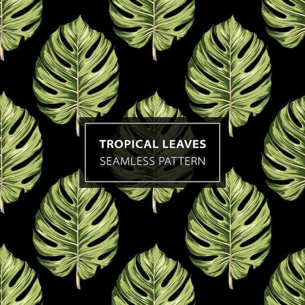 Modèle sans couture de feuilles tropicales monstera. Vecteur Premium
