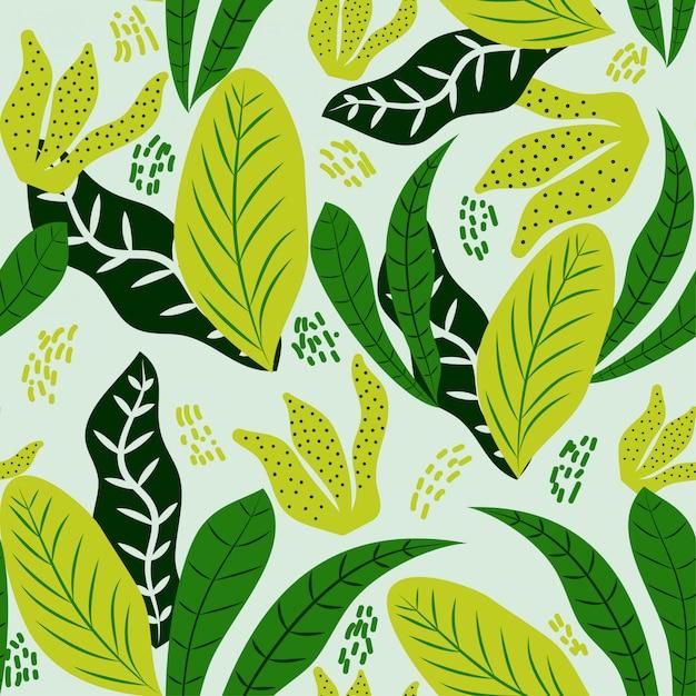 Modèle sans couture de feuilles tropicales sombres et verts Vecteur Premium