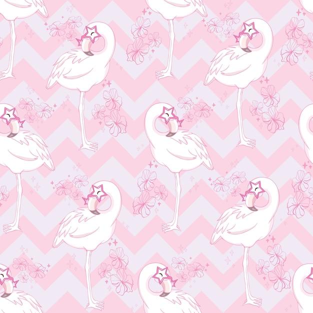 Modèle Sans Couture Avec Flamant Rose Dessin Animé Vecteur Premium