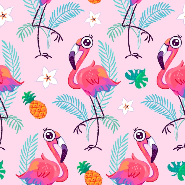 Modèle Sans Couture Avec Flamant Rose Mignon Et Feuilles Tropicales Vecteur Premium