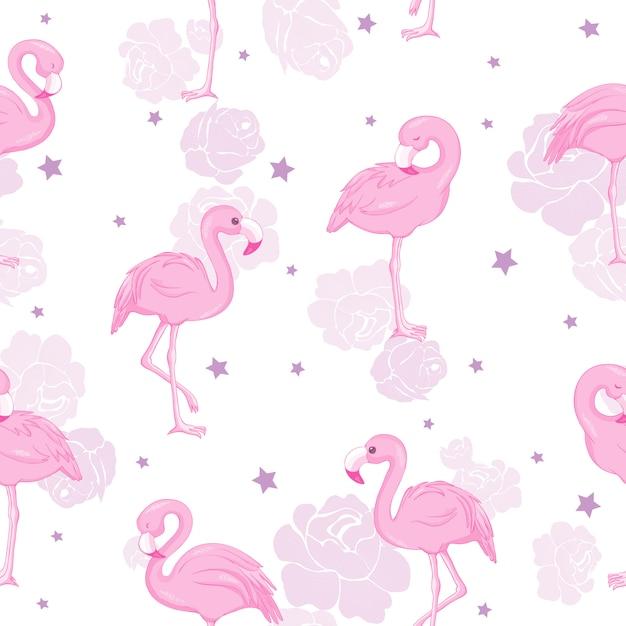 Modèle sans couture avec des flamants roses Vecteur Premium