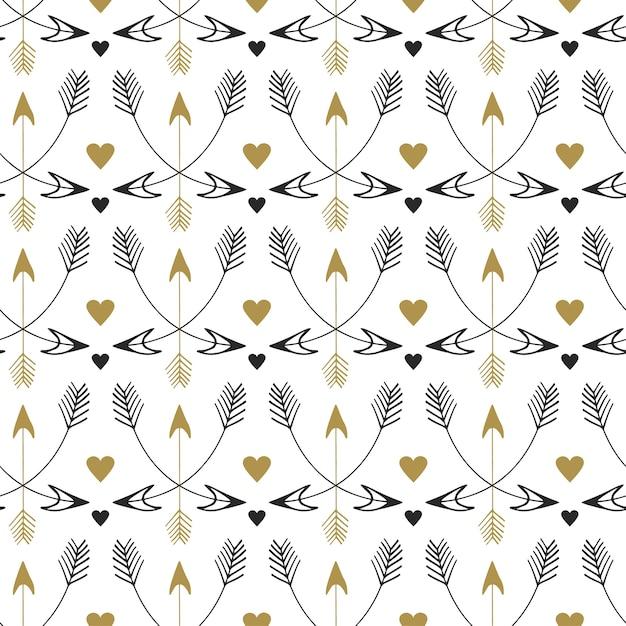 Modèle sans couture de flèches tribales. conception d'impression de vecteur dans un style ethnique. motif vintage or et noir Vecteur Premium