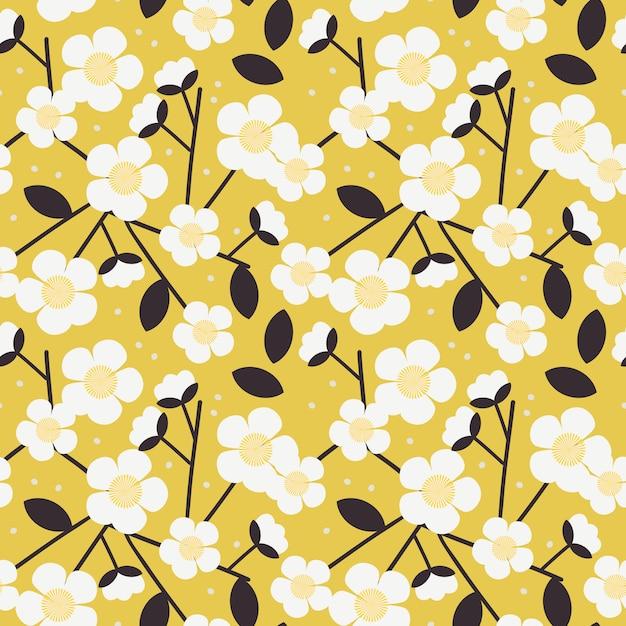 Modèle sans couture de fleur blanche douce. Vecteur Premium