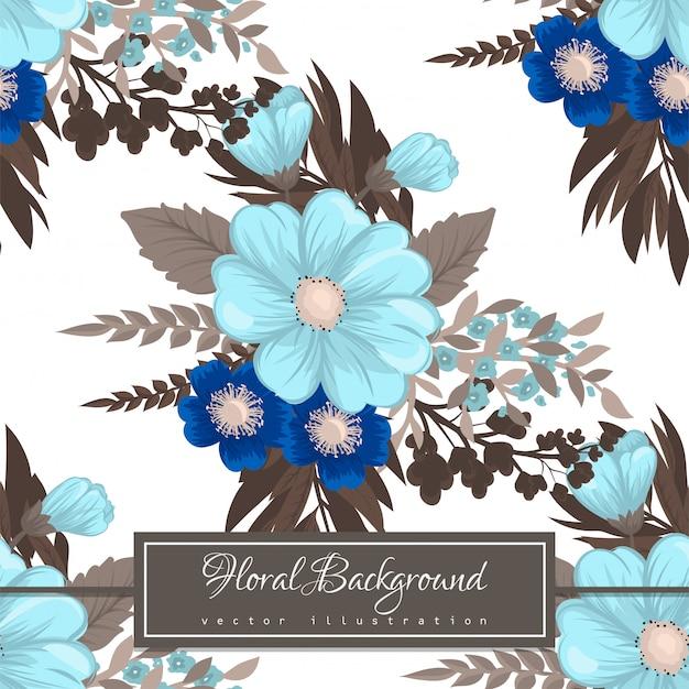 Modèle sans couture de fleur bleu clair Vecteur gratuit