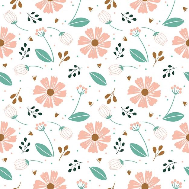 Modèle Sans Couture De Fleur Et Feuille De Variété Vecteur Premium