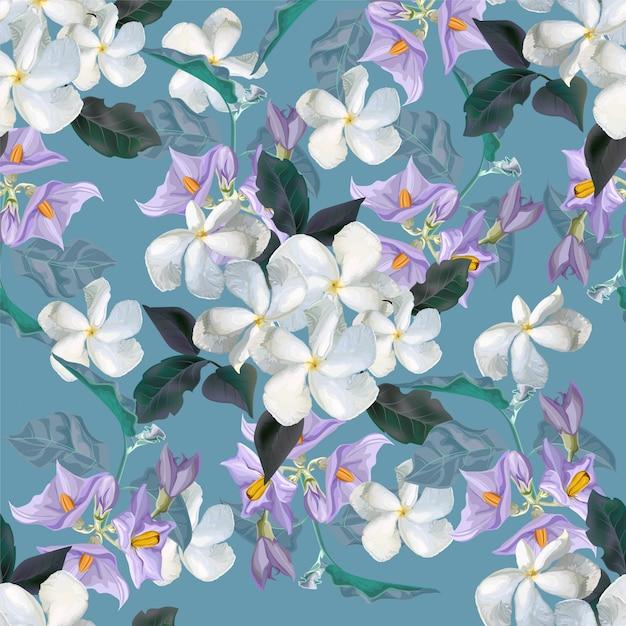 Modèle sans couture de fleur avec fleur Vecteur Premium