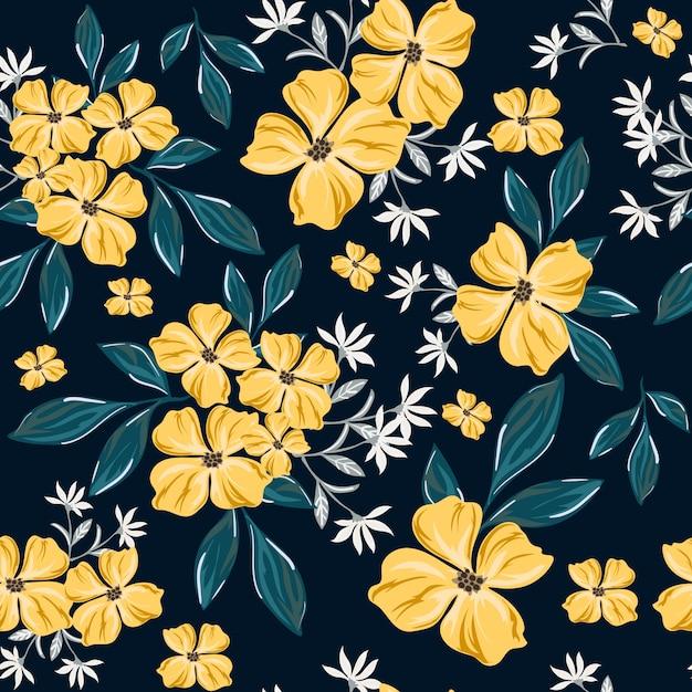 Modèle sans couture de fleur jaune Vecteur Premium