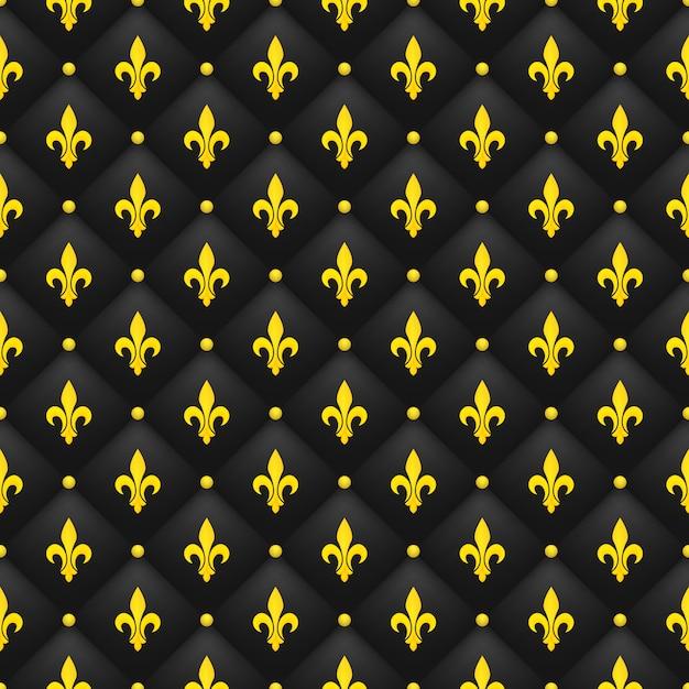 Modèle Sans Couture Avec La Fleur De Lys D'or Sur Un Noir Matelassé. Papier Peint Royal De Luxe. Vecteur Premium