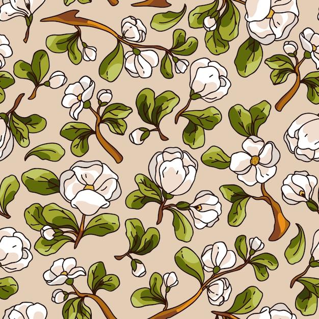 Modèle sans couture de fleur de pommier. texture de vecteur belle dessinés à la main. Vecteur Premium