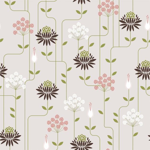 Modèle sans couture de fleur rétro avec ligne. motif d'ornement pour tissus, papiers peints et imprimés à la mode Vecteur Premium