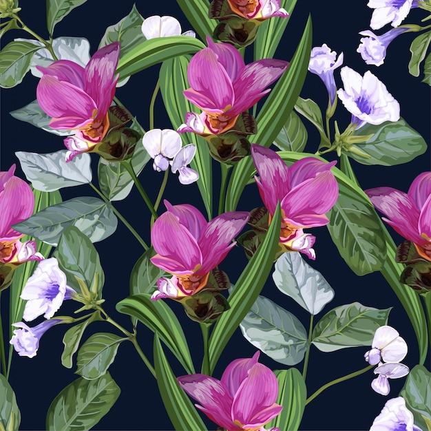 Modèle Sans Couture De Fleur Tropicale Avec Fleur De Tulipe Siam Et Haricot Mange-tout Vecteur Premium