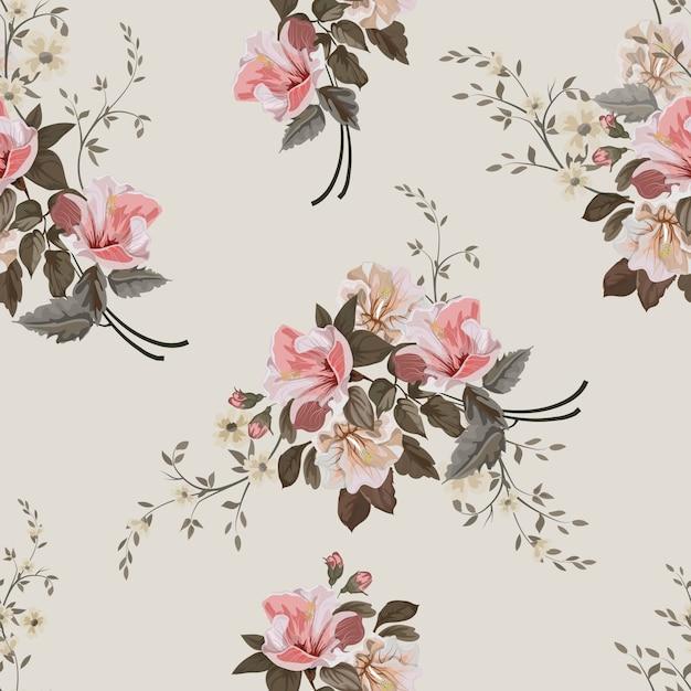 Modèle Sans Couture De Fleur Vintage Vecteur Premium