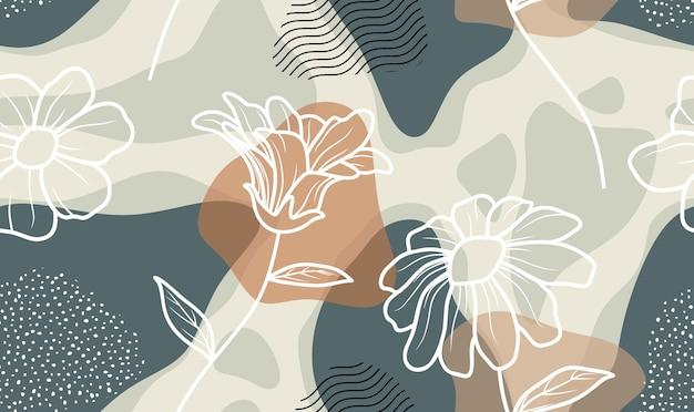 Modèle Sans Couture Avec Fleurs Abstraites Et Laisser Vecteur Premium