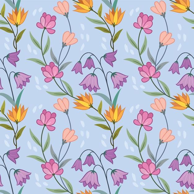 Modèle Sans Couture De Fleurs Colorées Pour Papier Peint Textile Tissu. Vecteur Premium