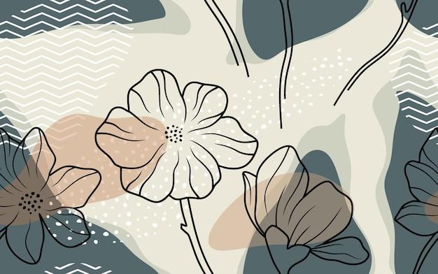 Modèle Sans Couture Avec Fleurs Et Feuilles Abstraites. Vecteur Premium