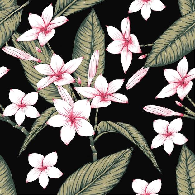 Modèle sans couture fleurs de frangipanier sur fond noir. Vecteur Premium