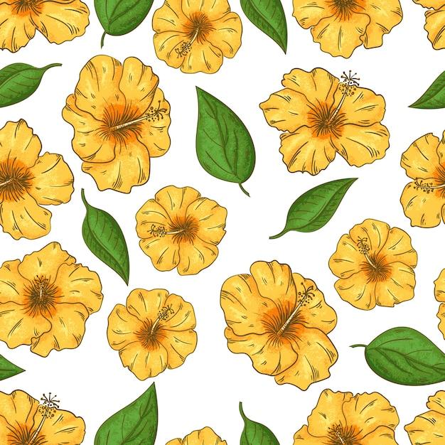 Modèle Sans Couture De Fleurs D'hibiscus Avec Feuilles Fleurs Tropicales. Design D'été Vecteur Premium
