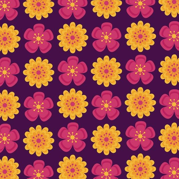 Modèle sans couture avec fleurs indiennes automne Vecteur gratuit