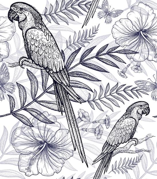Modèle sans couture fleurs et oiseaux. Vecteur Premium