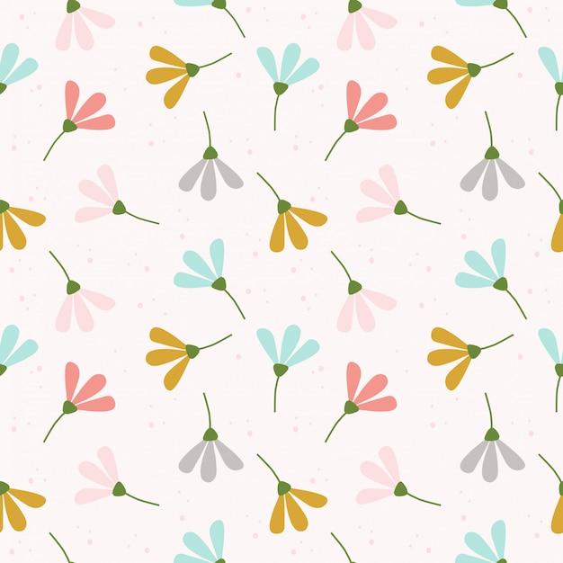 Modèle sans couture de fleurs pastel mignon Vecteur Premium