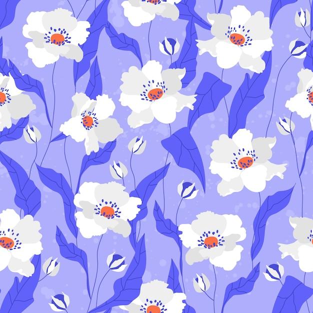 Modèle Sans Couture De Fleurs De Pavot Blanc. Vecteur Premium
