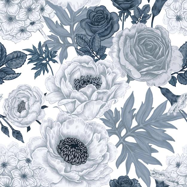 Modèle Sans Couture Avec Fleurs Roses, Pivoines, Hortensias, Oeillets. Vecteur Premium