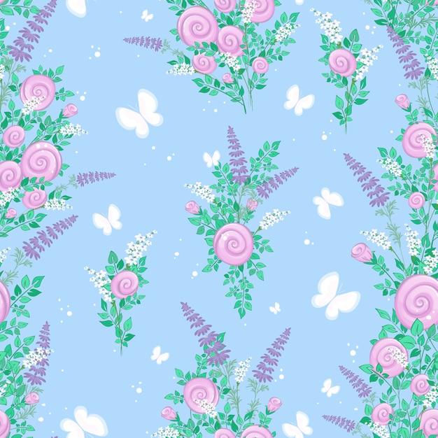 Modèle Sans Couture Avec Fleurs Sauvages Stylisées Et Papillons Sur Fond Bleu. Vecteur Premium