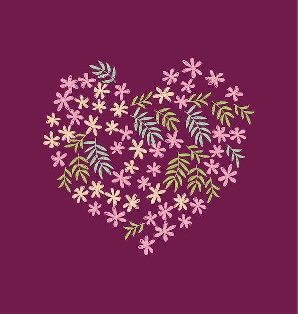 Modèle sans couture de fleurs tropicales en forme de coeur Vecteur Premium