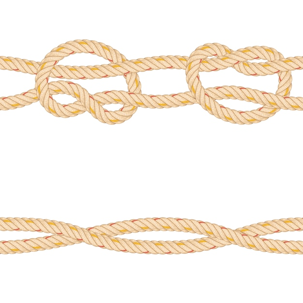 Modèle sans couture avec la flexion de la corde. Vecteur Premium