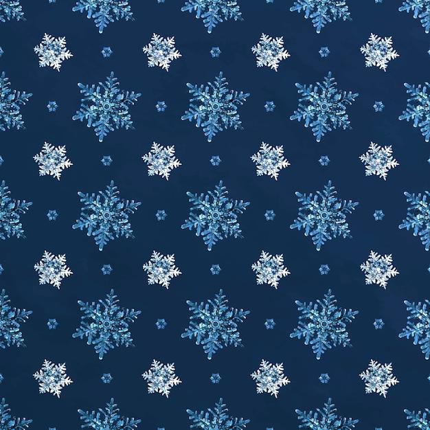 Modèle Sans Couture De Flocon De Neige Noël Bleu Vecteur gratuit