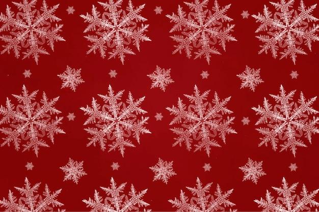 Modèle Sans Couture De Flocon De Neige De Noël Rouge Pour Papier D'emballage Vecteur gratuit