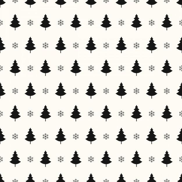 Modèle sans couture de flocons de neige arbre de noël Vecteur Premium