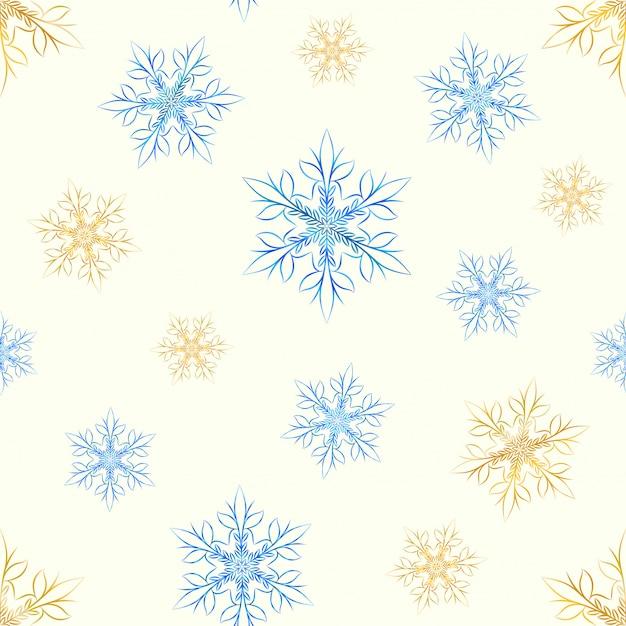 Modèle sans couture de flocons de neige dorés et glacés. Vecteur Premium