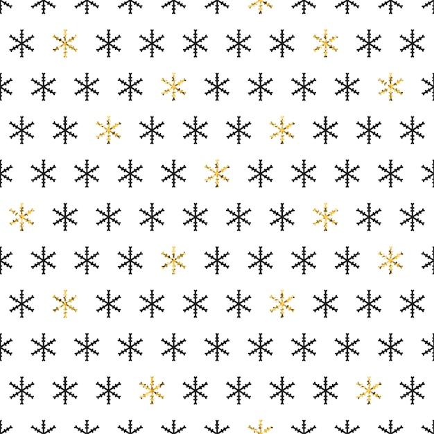 Modèle sans couture de flocons de neige d'or. Vecteur Premium
