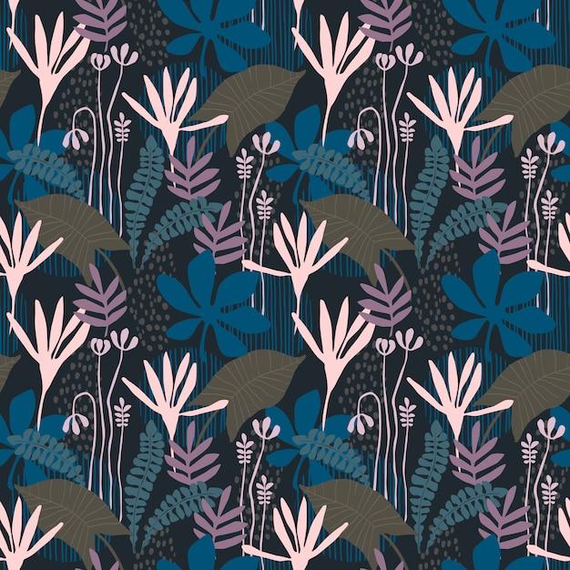 Modèle Sans Couture Floral Abstrait Avec Des Textures Dessinées à La Main à La Mode. Conception Abstraite Moderne Vecteur Premium