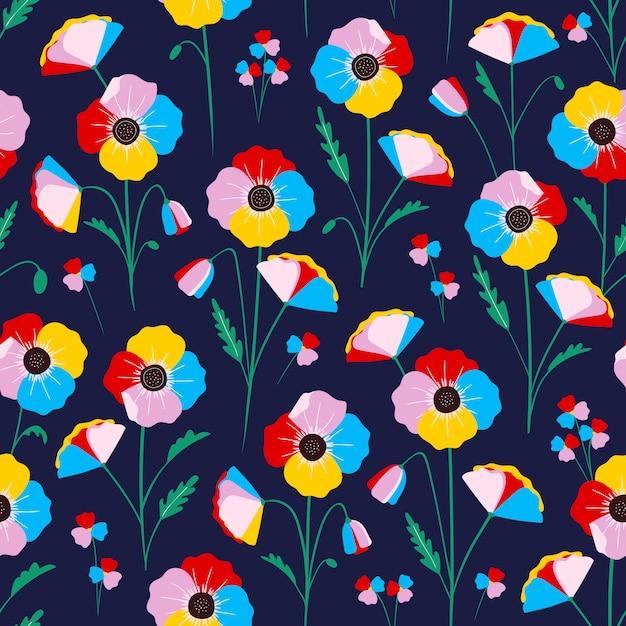 Modèle Sans Couture Floral Coloré Vecteur Premium