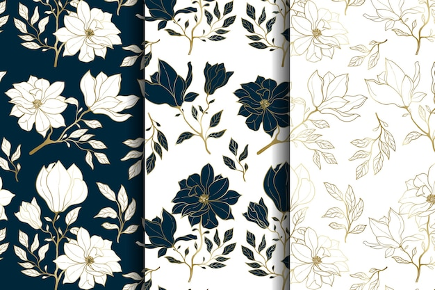 Modèle Sans Couture Floral De Luxe Or Et Bleu Vecteur Premium