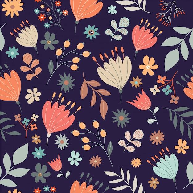 Modèle sans couture floral rétro Vecteur Premium