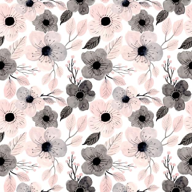 Modèle sans couture florale aquarelle rose tendre Vecteur Premium