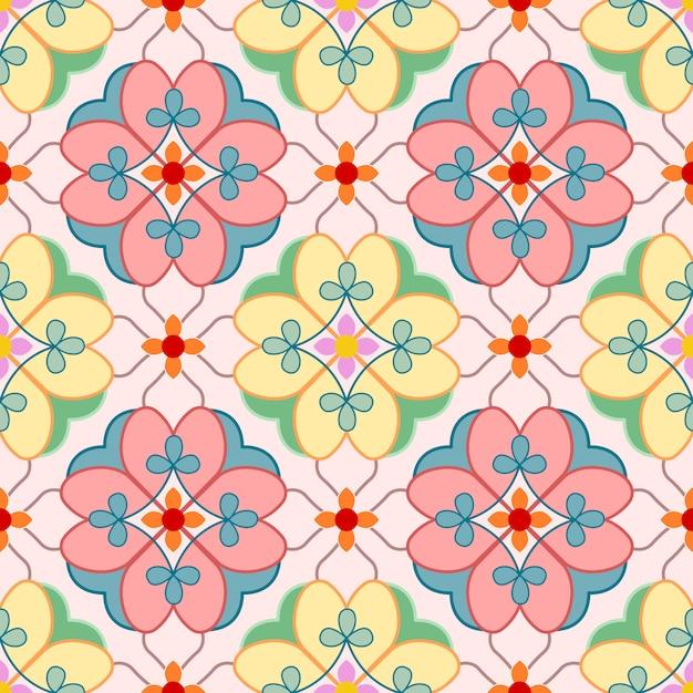 Modèle sans couture florale des éléments décoratifs vintage. Vecteur Premium