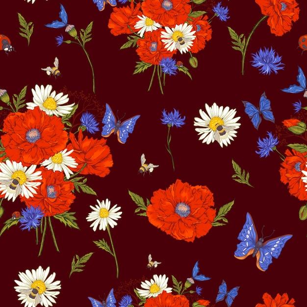 Modèle sans couture florale vintage de l'été avec la floraison des coquelicots camomille, coccinelle et marguerites bleuets bumblebee bee et papillons bleus. Vecteur Premium