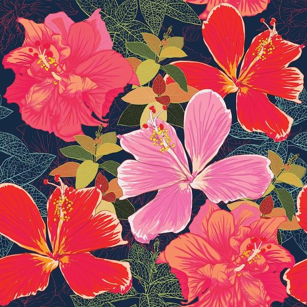 Modèle sans couture fond coloré de fleurs d'hibiscus. Vecteur Premium